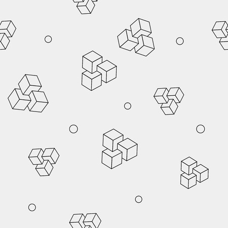 trendy tissue: Geometric, seamless, simple, monochrome minimalistic pattern of impossible cube shapes