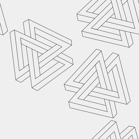 imagine a science: Pattern geometric seamless simple monochrome minimalistic pattern of impossible shapes, triangles