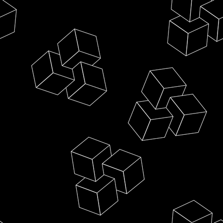 minimalistic: Geometric, seamless, simple, monochrome minimalistic pattern of impossible cube shapes