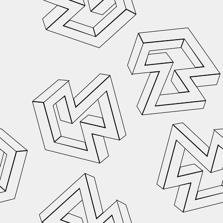 trickery: Geometric simple monochrome minimalistic pattern of impossible shapes