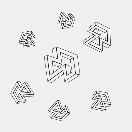 escher: Geometric seamless simple monochrome minimalistic pattern of impossible shapes