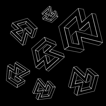 Geometric seamless simple monochrome minimalistic pattern of impossible shapes Vetores