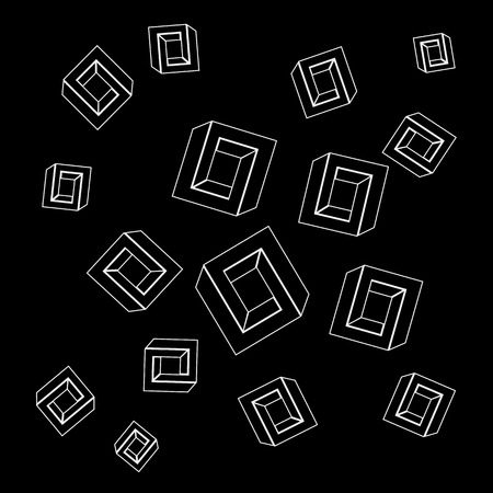 impossible: Geometric seamless simple monochrome minimalistic pattern of impossible shapes