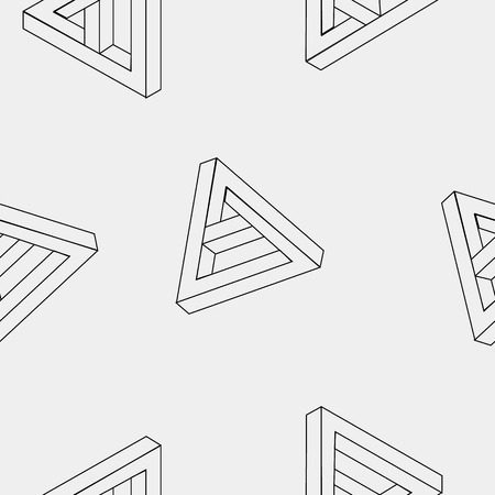 mobius loop: Pattern geometric seamless simple monochrome minimalistic pattern of impossible shapes, triangles. Illustration
