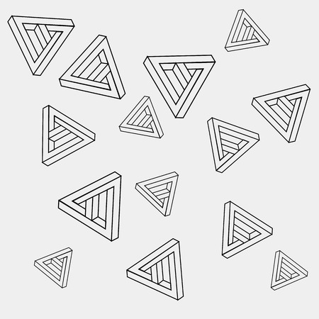impossible: Pattern geometric seamless simple monochrome minimalistic pattern of impossible shapes, triangles. Illustration