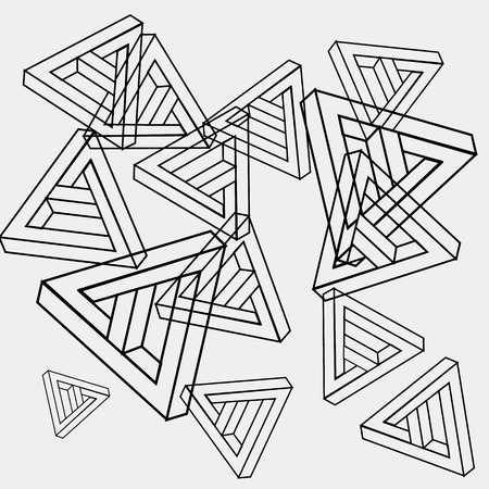 trickery: Pattern geometric seamless simple monochrome minimalistic pattern of impossible shapes, triangles. Illustration