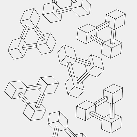 mobius loop: Pattern geometric seamless simple monochrome minimalistic pattern of impossible shapes, rectangles.