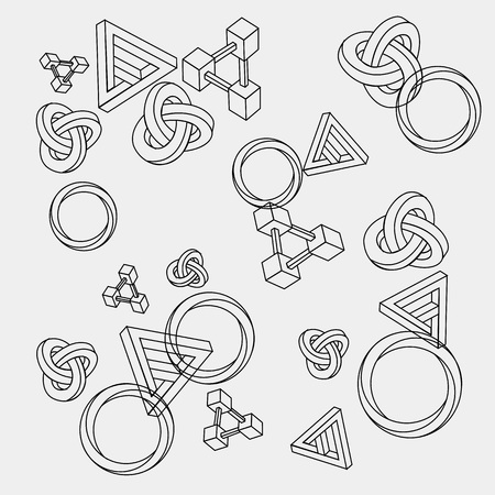 imagine a science: Pattern geometric seamless simple monochrome minimalistic pattern of impossible shapes, rectangles, triangles, rounds.