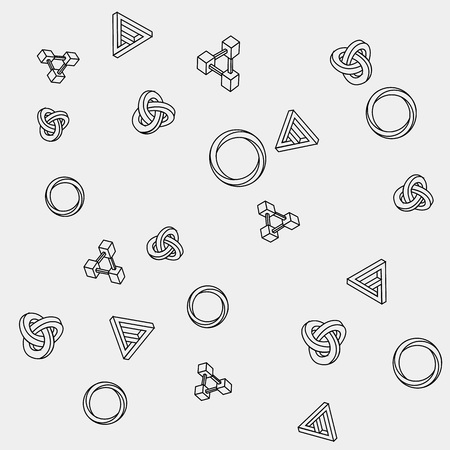 trickery: Pattern geometric seamless simple monochrome minimalistic pattern of impossible shapes, rectangles, triangles, rounds.