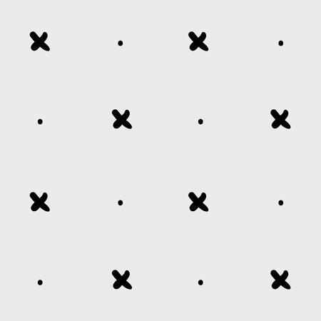 Minimaal zwart-wit hand getrokken patroonkruis. Zwart en wit. Stock Illustratie