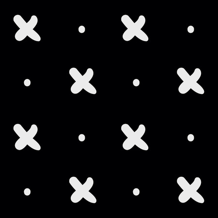 Minimale zwart-wit hand getrokken patroon cross.Black en wit.