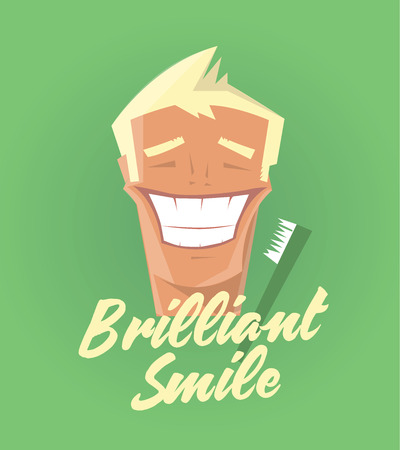 dentalcare: Poster with man smiling. White healthy teeth, toothbrush or toothpaste advertisement. Retro style. Denist service, stomatology.