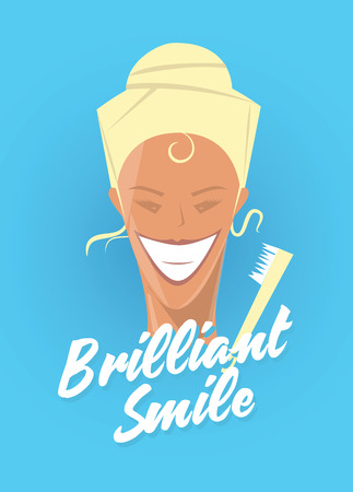 dentalcare: Poster with woman smiling. White healthy teeth, toothbrush or toothpaste advertisement. Retro style. Denist service, stomatology.