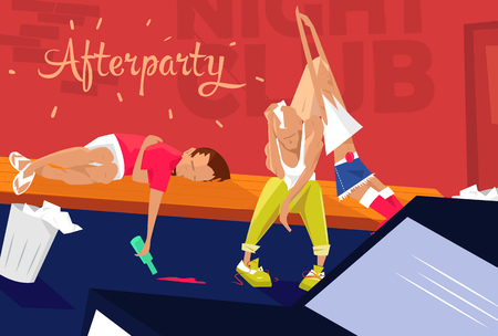 소진 된 젊은 사람들의 그룹, 소녀와 두 소년 좌석 근처 피곤 하 고 졸린 나이트 클럽 좌석. 파티 후에