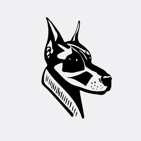 Logo, symbol, sign, stencil dog head. Unique technique. Vintage hand drawn style