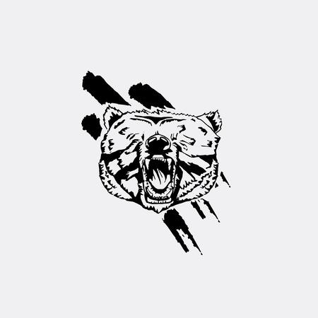 Black and white monochrome emblem, symbol, logotype, sign, badge, sticker, poster, stencil of bear. Identity, T-shirt, textile, cloth, apparel, tattoo, print Illustration