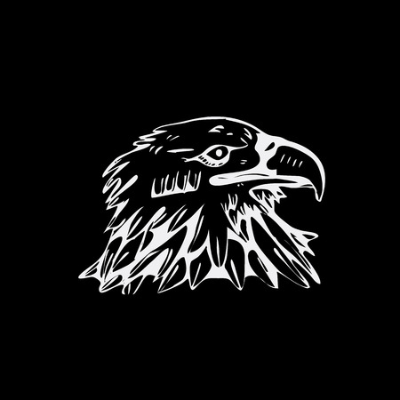 Hand-drawn pencil graphics, bird, eagle, hawk, kite, vulture. Linocut, stencil style. Black and white logo, sign, emblem, symbol. Stamp, seal. Simple illustration. Sketch.