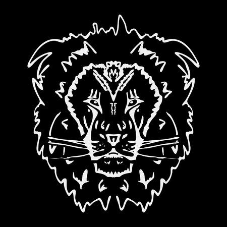 Hand-drawn pencil graphics, lion. Engraving, stencil style. Black and white logo, sign, emblem, symbol. Stamp, seal. Simple illustration. Sketch. Illustration