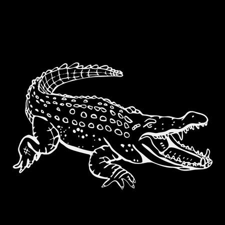 Hand-drawn pencil graphics, crocodile, alligator, croc. Engraving, stencil style. Black and white logo, sign, emblem, symbol. Stamp, seal. Simple illustration. Sketch. Illustration