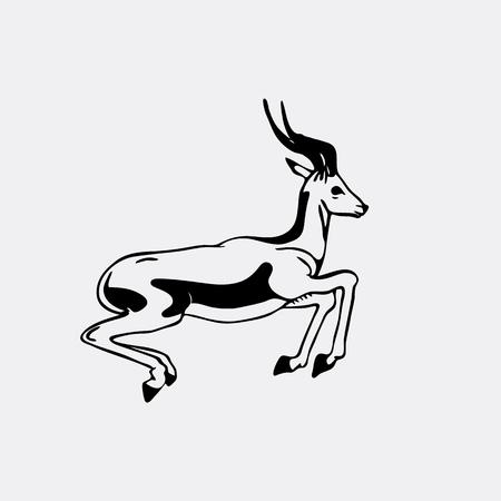 Hand-drawn pencil graphics, antelope, roe. Engraving, stencil style. Black and white logo, sign, emblem, symbol. Stamp, seal. Simple illustration. Sketch. Illustration
