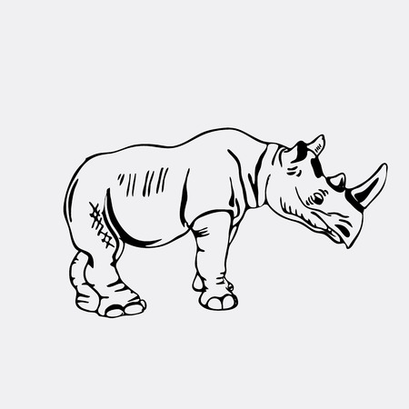 stubbornness: Hand-drawn pencil graphics, rhinoceros. Engraving, stencil style. Black and white logo, sign, emblem, symbol. Stamp, seal. Simple illustration. Sketch.