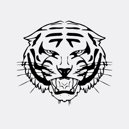 Hand-drawn pencil graphics, tiger head. Engraving, stencil style. Black and white sign, emblem, symbol. Stamp, seal. Simple illustration. Sketch.