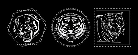 bengal: Hand-drawn pencil graphics, tiger head, muzzle set. Engraving, stencil style. Black and white logo, sign, emblem, symbol. Stamp, seal. Simple illustration. Sketch.