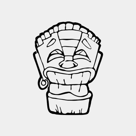 Hand drawn totem face symbol. Ancient tribal god. Illustration