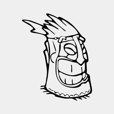 Hand getekend totem gezicht symbool. Oude stamgod.