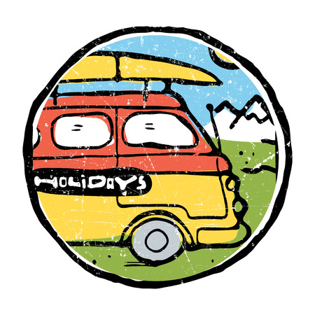 Hippie traveling bus with surfing board luggage riding on the road. Mountains on background. Colored illustration. Illustration
