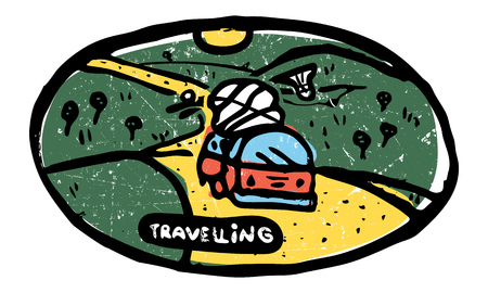 Traveling bus rides among hills with luggage. Colored illustration. Illustration