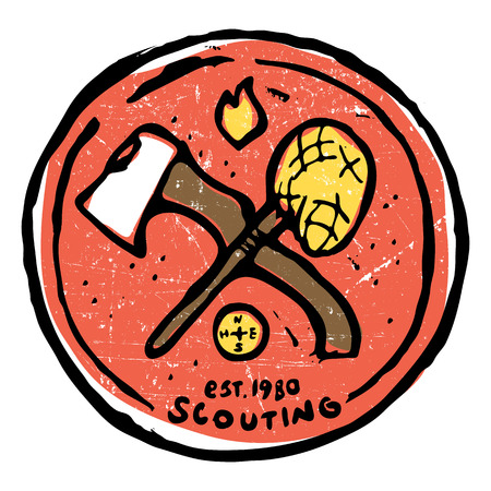 Scouting club round emblem with crossed ax and nettle. Compass and flame symbols around. Colored illustration Illustration