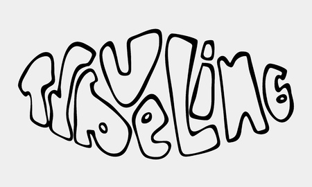 Text traveling word or phrase lettering traveling. Can be used on banners, cards. Illustration