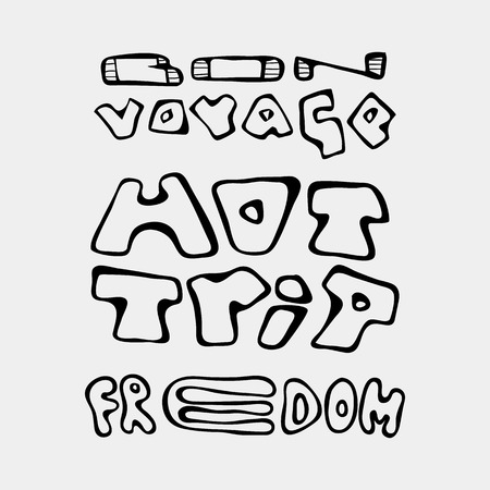 Set of text traveling slogans lettering.Bon voyage, hot trip, freedom. Can be used on banners, cards.