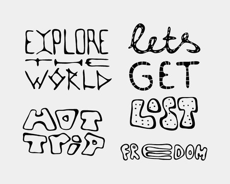 Set of text traveling slogans lettering. Lets get lost, hot trip, explore the world, freedom. Can be used on banners, cards. Illustration