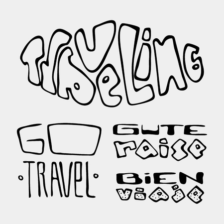 Set of text traveling slogans lettering. Traveling, go travel, gute raise, bien viaje. Can be used on banners, cards. Stock Vector - 83082850