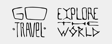 Set of text traveling slogans lettering. go travel, explore the world. Can be used on banners, cards.