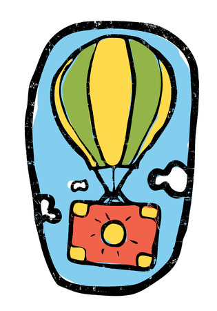 Air balloon with luggage go up in the sky. Emblem, retro, naive style.