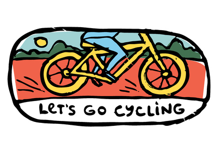 naive: Mans legs riding bicycle. Bushes, sun, landscape on background. Lets go cycling text.