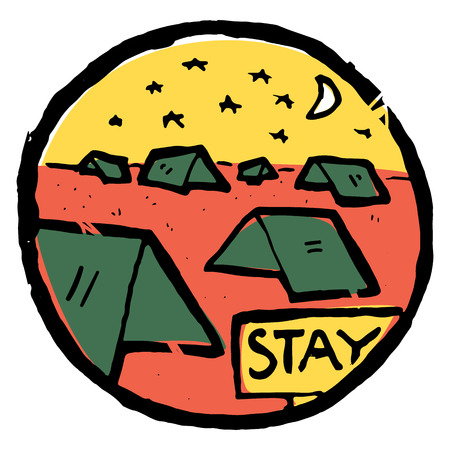 Picture of  camping , dusk. Nature and resting. Emblem, label. Stay sign text. Tents all around. Moon, stars.