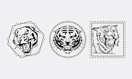 Hand-drawn pencil graphics, tiger head, muzzle set. Engraving, stencil style. Black and white logo, sign, emblem, symbol. Stamp, seal. Simple illustration. Sketch.