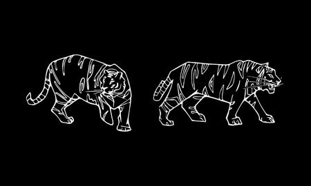 Tiger emblem set. Hand-drawn pencil graphics, tiger head. Engraving, stencil style. Black and white logo, sign, emblem, symbol. Stamp, seal. Simple illustration. Sketch. Illustration
