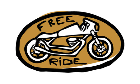 Oval golden emblem, sticker, bike side view. Free ride text