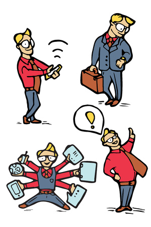 Businessman funny cartoon icons set. Naive style illustration. Illustration