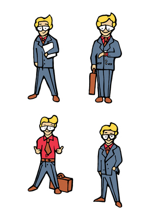 Businessman funny cartoon icons set. Naive style illustration. Illustration