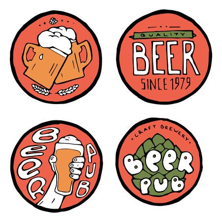 Beer pub posters, stickers, emblems. Beer cups.