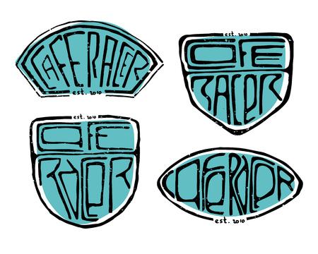 Cafe Racer text letters set vector illustration