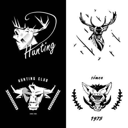 Pictogram, embleem, teken, symboolinsignes van paard, hert, stier, beer, everzwijn. Stencil, linosnede, graveerstijl. Monochroom, zwart en wit.