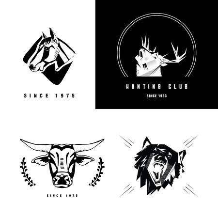 Logotype, emblem, sign, symbol, insignia of horse, deer, bull, bear, boar head. Stencil, linocut, engraving style. Monochrome, black and white.