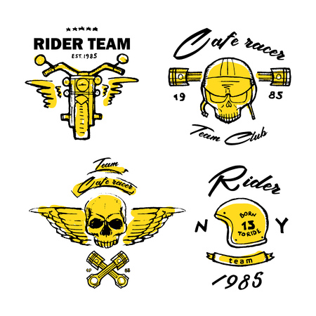 Moto biker theme, icon, logo or sticker set. Cafe racer. Golden, white background. Illustration